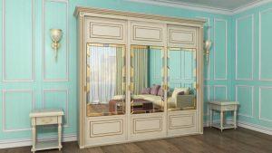 Шкаф купе с фрезеровкой и зеркальным панно Рубцовск