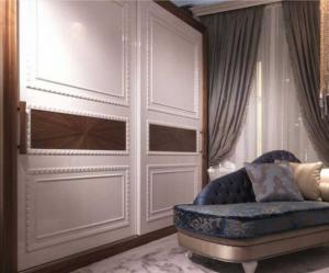 Шкаф купе с эмитацией филенки и фигурной накладкой, ламинация, шпон, эмаль Рубцовск