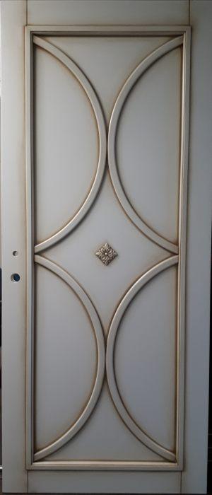 Межкомнатная дверь в профиле массив (эмаль с патиной) Рубцовск